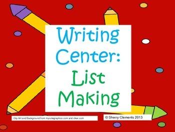Writing Center: List Making