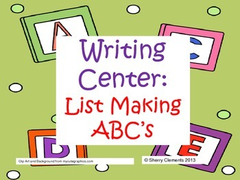 Writing Center: List Making ABC's