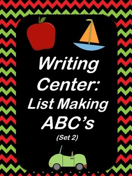 Writing Center: List Making ABC's (set 2)