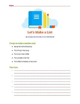 Writing Center Lists