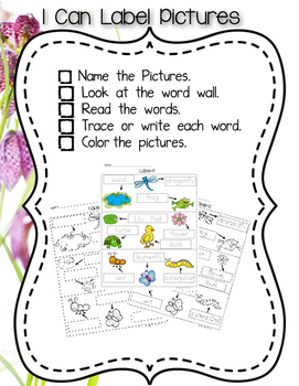 Pond Theme Independent Writing Practice