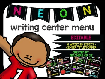 Neon Writing Center Menu