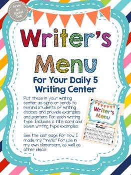 Writing Center Menu Posters