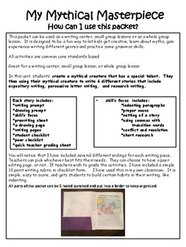 Writing Cente Packet-My Mythical Creature grades 4-6