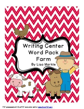 Writing Center Practice Word Pack Farm Theme