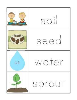 Writing Center Practice Word Pack Gardening Theme