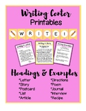 Writing Center Printables