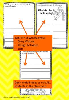 Writing Center SPRING Printables Kindergarten Grade 1 One and Grade 2 Two