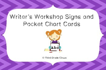 Writing Center Signs and Pocket Chart Cards
