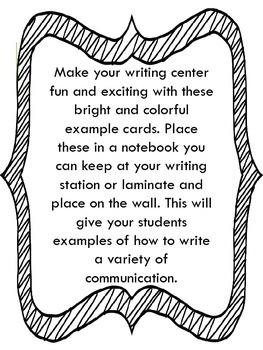 Writing Center Task Cards