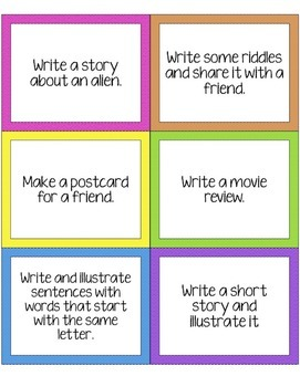 Writing Task Cards - Prompts for Writing Journals