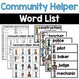 Writing Center Word Lists - Community Helper Words