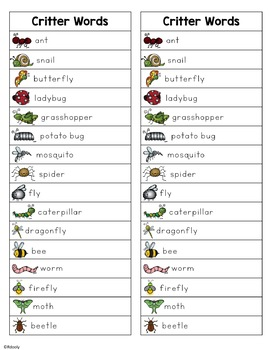 Critter Words (bugs, spiders, snails, etc.)
