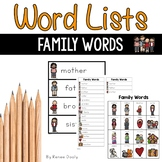 Writing Center Word Lists - Family Words