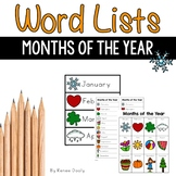 Writing Center Word Lists - Months of the Year