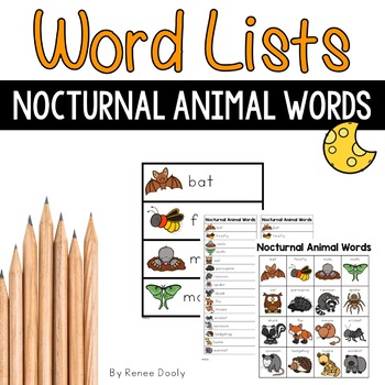 Nocturnal Animal Words by Renee Dooly | Teachers Pay Teachers