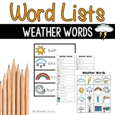 Writing Center Word Lists - Weather Words