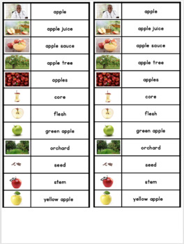 Writing Center Word Cards: Apple