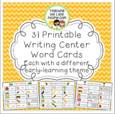 Writing Center Word Cards for 32 Different Early Learning Themes