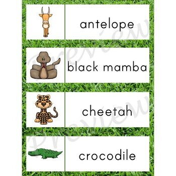 Writing Center Word List ~ African Animal Words