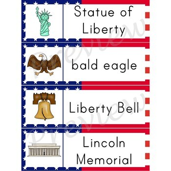 Writing Center Word List ~ American Symbol Words