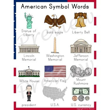 Writing Center Word List ~ American Symbol Words