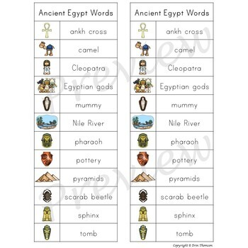 Writing Center Word List ~ Ancient Egypt Words