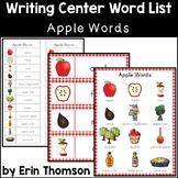 Writing Center Word List ~ Apple Words