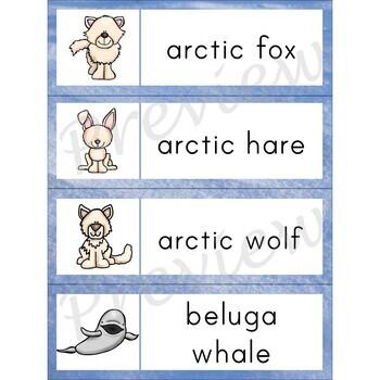 Writing Center Word List ~ Arctic Animal Words