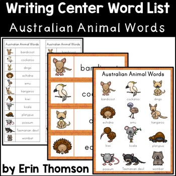 Writing Center Word List ~ Australian Animal Words