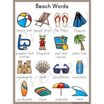 Writing Center Word List ~ Beach Words