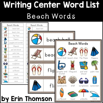 Writing Center Word List ~ Beach Words