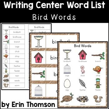 Writing Center Word List ~ Bird Words