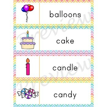 Writing Center Word List ~ Birthday Words