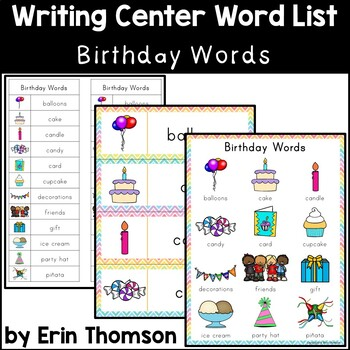 writing center word list birthday words by erin thomson s primary
