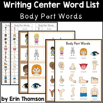 Writing Center Word List ~ Body Part Words