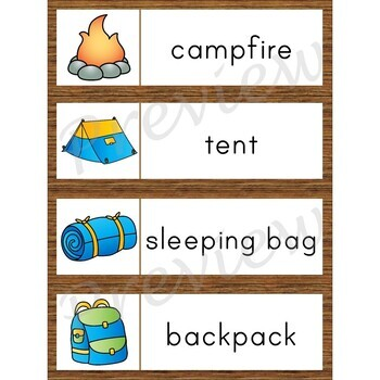 Writing Center Word List ~ Camping Words