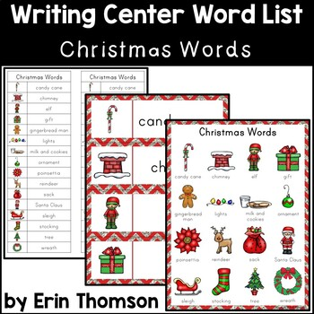 Christmas Words.Writing Center Word List Holiday Words