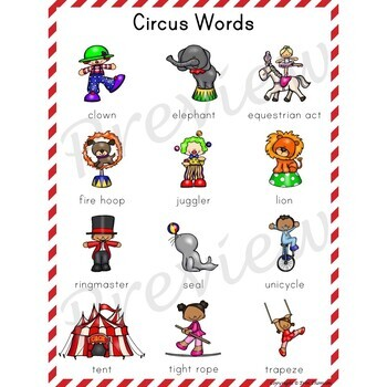 Writing Center Word List ~ Circus Words