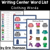 Writing Center Word List ~ Clothing Words