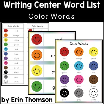 Writing Center Word List ~ Color Words