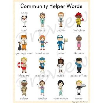 Writing Center Word List ~ Community Helper Words