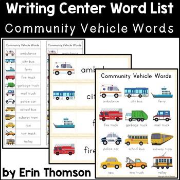 Writing Center Word List ~ Community Vehicle Words