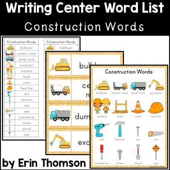 Writing Center Word List ~ Construction Words