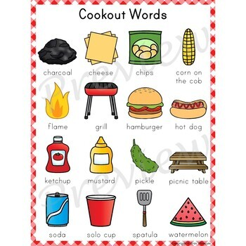 Writing Center Word List ~ Cookout Words
