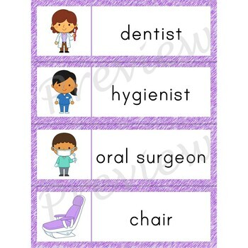 Writing Center Word List ~ Dentist Words