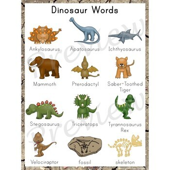Writing Center Word List ~ Dinosaur Words