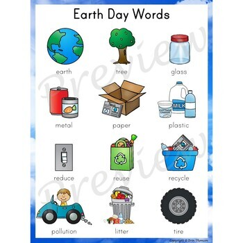 Writing Center Word List ~ Earth Day Words