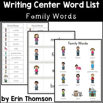 Writing Center Word List ~ Family Words