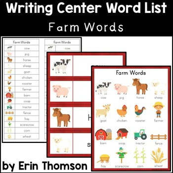 Writing Center Word List ~ Farm Words
